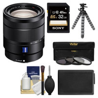 Sony Alpha NEX E-Mount Vario-Tessar T* 16-70mm f/4.0 ZA OSS Zoom Lens with 32GB Card + Battery + Flex Tripod + 3 UV/ND8/CPL Filters + Kit for ILC/NEX Cameras