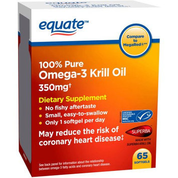 Generic Equate Omega-3 Krill Oil Dietary Supplement Softgels, 350mg, 65 count