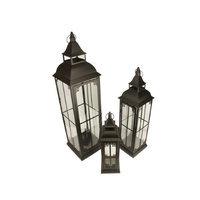 Christmas Central Set of 3 Black Antique Vintage Style Pillar Candle Holder Lanterns 37