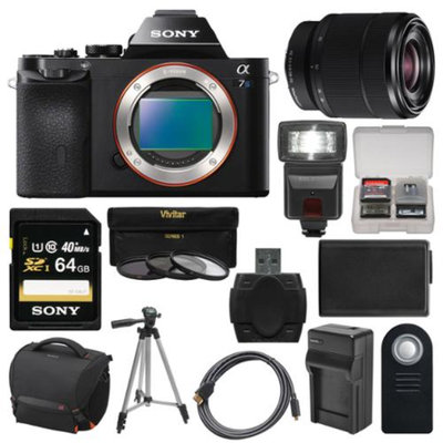 Sony Alpha A7S Digital Camera Body with 28-70mm Lens + 64GB Card + Case + Flash + Battery & Charger + Tripod Kit