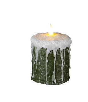 Delighted Home MC-W4FG Hand-Waxed Battery-Operated 4 in. Frosted Green MC Pillar