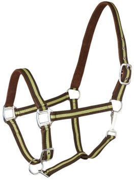 Gatsby 2-Tone Suede Padded Nylon Halter Horse Brown & Apple Green w/Brown Padding