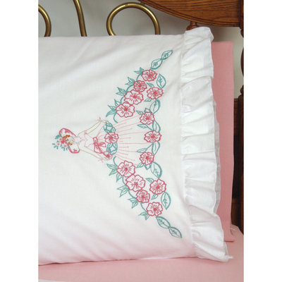 Fairway Needlecraft Flower Lady Stamped Lace Edge Pillowcase Pair, 30