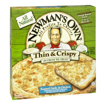 Newman's Own All Natural Thin & Crispy Roasted Garlic & Chicken Pizza