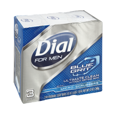 Dial For Men Blue Grit Ultimate Clean with Micro-Scrubbers Deodorant Soap Bars - 3 CT