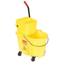 Rubbermaid FG758088YEL WaveBrake® 35 Qt. Yellow Mop Bucket with Side Press Wringer