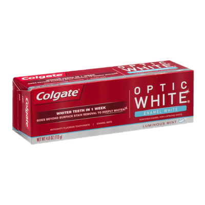 Colgate Optic White Anticavity Fluoride Toothpaste Luminous Mint