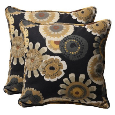 Pillow Perfect Outdoor 2-Piece Square Toss Pillow Set - Black/Yellow Floral 18