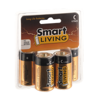 Smart Living Long Life Alkaline Batteries Size C 4 Pack
