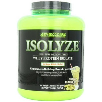 Species Nutrition Isolyze, Vanilla Peanut Butter, 4.1-pound Tub