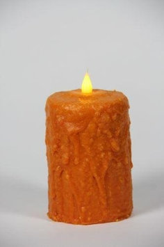 Delighted Home MC-W5O Hand-Waxed Battery-Operated 5 in. Orange MC Pillar Candle