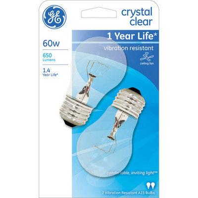 General Electric GE 60W Ceiling Fan A15 Clear Regular Base Bulb, 2-Pack