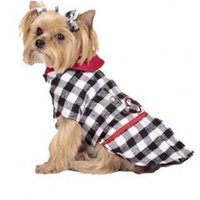 Max's Closet Buffalo Plaid Dog Coat in Black/White Size: XSmall