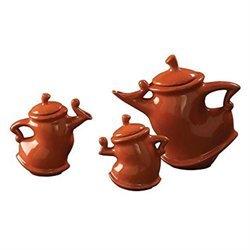 Howard Elliott Teapots in Orange Glaze (Set of 3)