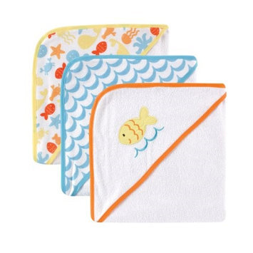 Baby Vision Luvable Friends 3-Pack Hooded Towels, Pink Whale