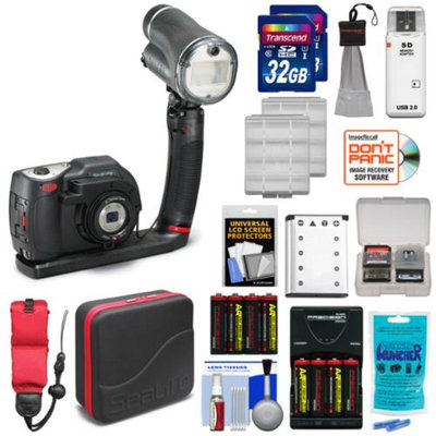 SeaLife DC1400 14MP HD Underwater Digital Camera Sea Dragon Pro Set & Flash with (2) 32GB Cards + Battery + Case + Float Strap + Kit