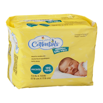 Cottontails Sensitive Baby Wipes Unscented - 192 CT