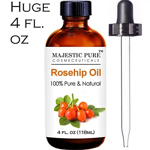 Majestic Pure Rosehip Oil 100% Pure, Certified Organic Cold Pressed Premium Rose Hip Seed Oil for Face, Skin, Nails & Hair, 4 fl. oz.