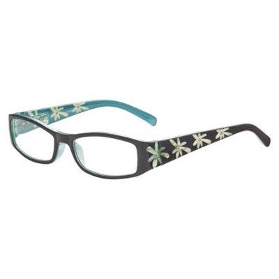 ICU Eyewear ICU Blue Etched Floral Rhinestones Reading Glasses with Case - +2.0