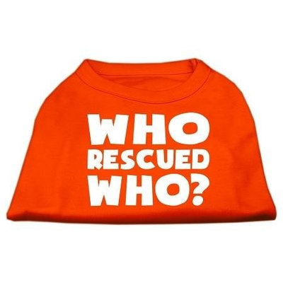 Ahi Who Rescued Who Screen Print Shirt Orange Sm (10)