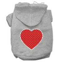 Mirage Pet Products Red Swiss Dot Heart Screen Print Pet Hoodies Grey Size XXL (18)