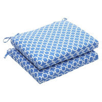 Pillow Perfect Outdoor 2-Piece Chair Cushion Set - Blue/White Geometric
