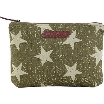 Bella Taylor Vintage Star Olive Personal Pouch Set of 2 Cosmetic Case Makeup Bag Travel 6.25x9x5 And 5x7x5