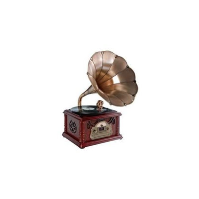 PylePro PTCDCS3UIP Classical Trumpet Horn Turntable-Phonograph with AM-FM