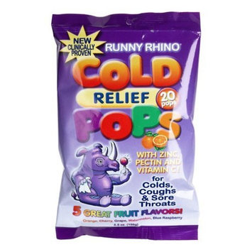 Runny Rhino Cold Relief Pops, Assorted Flavors, 20-Count (Pack of 6)