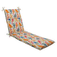 Pillow Perfect Outdoor Chaise Lounge Cushion - White/Orange Birds