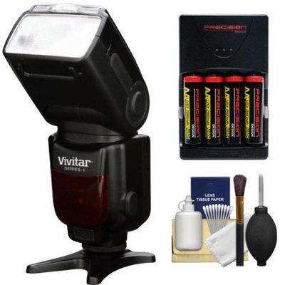 Vivitar Series 1 DF-583 E-TTL Power Zoom DSLR Wireless TTL Flash with Batteries & Charger + Cleaning Kit for Canon EOS 6D, 70D, 5D Mark II III, Rebel T3, T3i, T4i, T5, T5i, SL1 Digital SLR Cameras