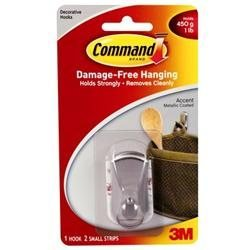 3M 17072BN Command Accent Hook Small Brushed Nickel 1 hook, 2 strips
