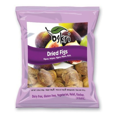 Oskri Organics Oskri Figs, Dried, 3.53-Ounce Bags (Pack of 12)