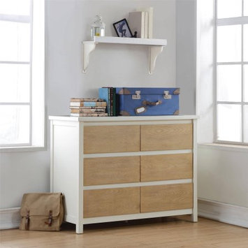 Dorel Asia Dorel Living Blaine 6-Drawer Dresser, White/Natural