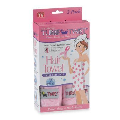 The Original Turbie Twist Super-Absorbent Hair Towel in Pink (Set of 2)