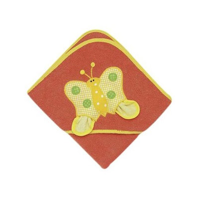 Mullins Square Butterfly Hooded Orange Towel with Washcloth