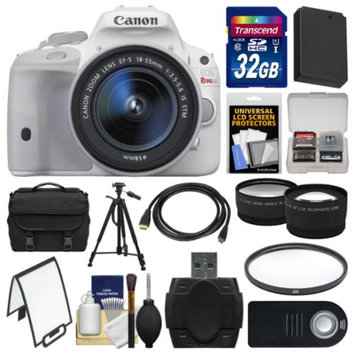 Canon EOS Rebel SL1 Digital SLR Camera & EF-S 18-55mm IS STM Lens (White) with 32GB Card + Case + Battery + Tripod + Tele/Wide Lens Kit