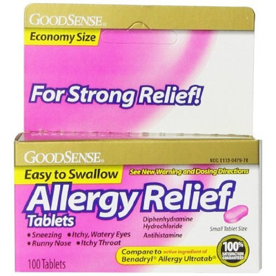Good Sense GoodSense Allergy Relief, Diphenhydramine HCL Antihistamine, 25 mg, 100 Count