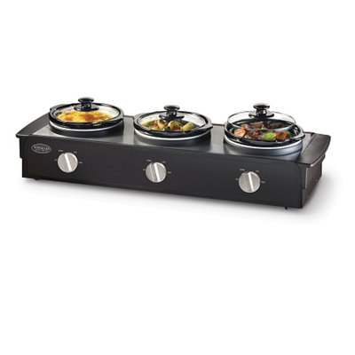 Nostalgia Electrics TSC-250BLK Triple Slow Cooker Buffet