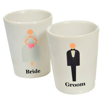 Cathy's Concepts Bride & Groom Shot Glasses