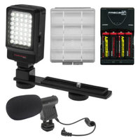 Precision Design Digital Camera / Camcorder LED Video Light with Bracket with Microphone + Batteries & Charger