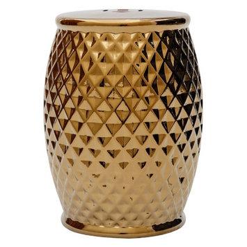 Abbyson Living Royala Tufted Ceramic Garden Stool in Gold Chrome