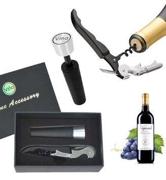 Vina Wine Accessory Set, Stainless Steel Wine Bottle Opener Hippocampal Knife Corkscrew + Vacuum Wine Stopper