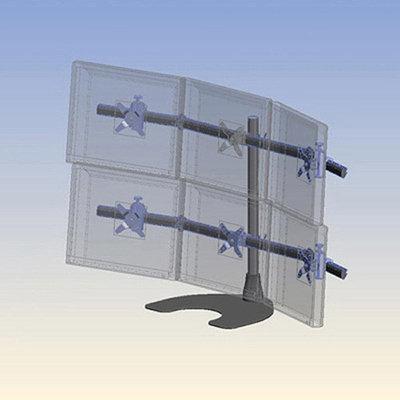 Ergotech Hex (3 Over 3) LCD Desk Stand