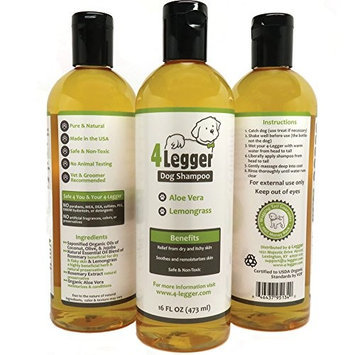 4-Legger Certified Organic Dog Shampoo - All Natural - Hypoallergenic - Normal to Dry and Itchy Skin - Maintains Beneficial Coat Oils - Aloe and Lemongrass - Made in USA - 1 - 16 oz bottle