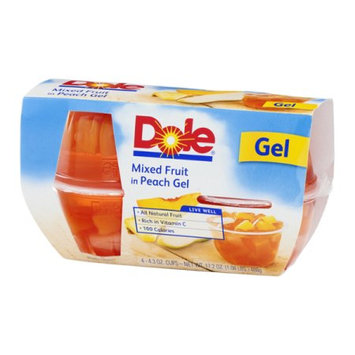 Dole Fruit Bowls Mixed Fruit in Peach Gel, 4 CT (Pack of 6)
