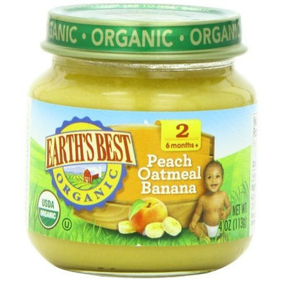 Earth's Best Organic Stage 2, Peach, Oatmeal & Banana, 4 Ounce Jar (Pack of 12)