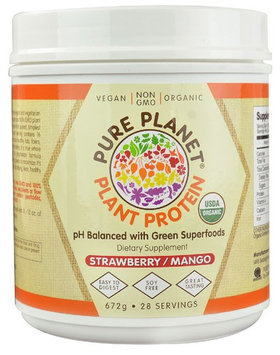 Pure Planet Organic Plant Protein Strawberry Mango 28 Servings - Vegan