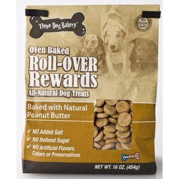Three Dog Bakery Roll Over Rewards Peanut Butter, Baked Dog Treats, 16-Ounce