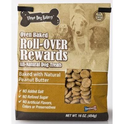 Three Dog Bakery Roll Over Rewards Peanut Butter, Baked Dog Treats, 16-Ounce